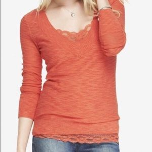 Coral Fitted Slub Knit V neck Sweater